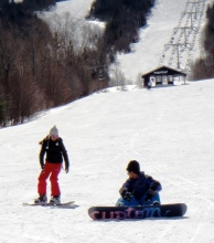 Snowboarding at Sugarloaf in Maine.